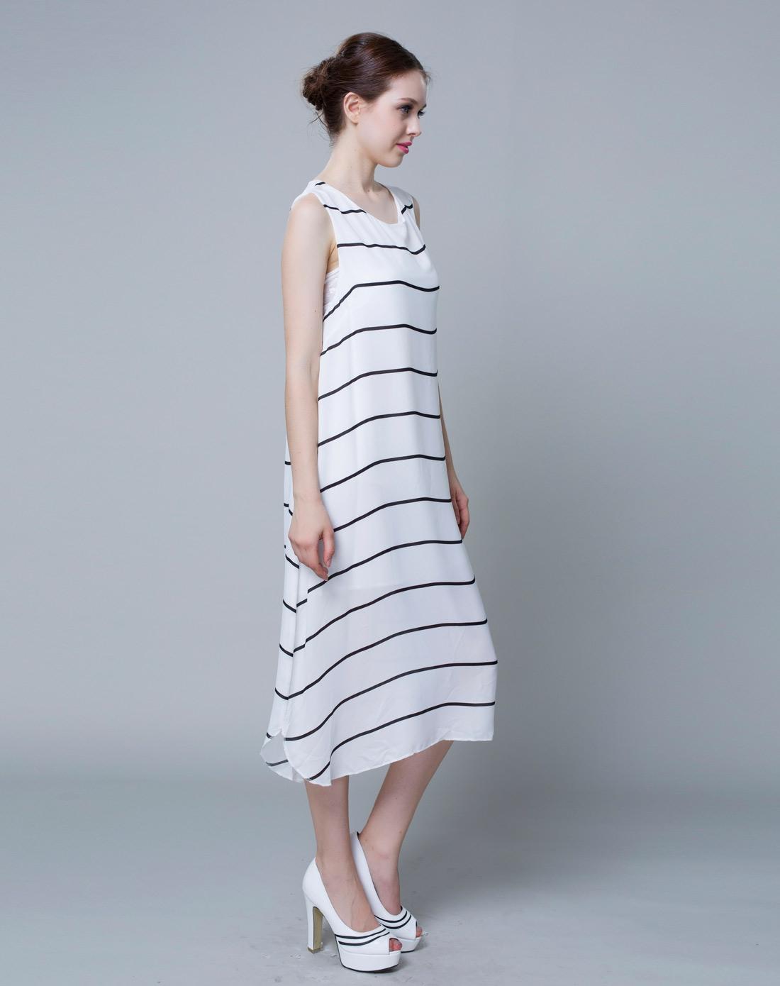 _蓝丝黛lansda黑白色女装无袖连衣裙l4220121041_唯品会