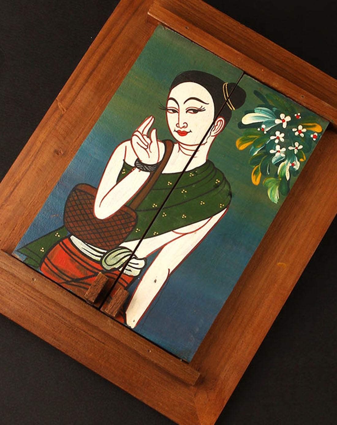 天然柚木手绘美女梳妆镜(人比花娇)