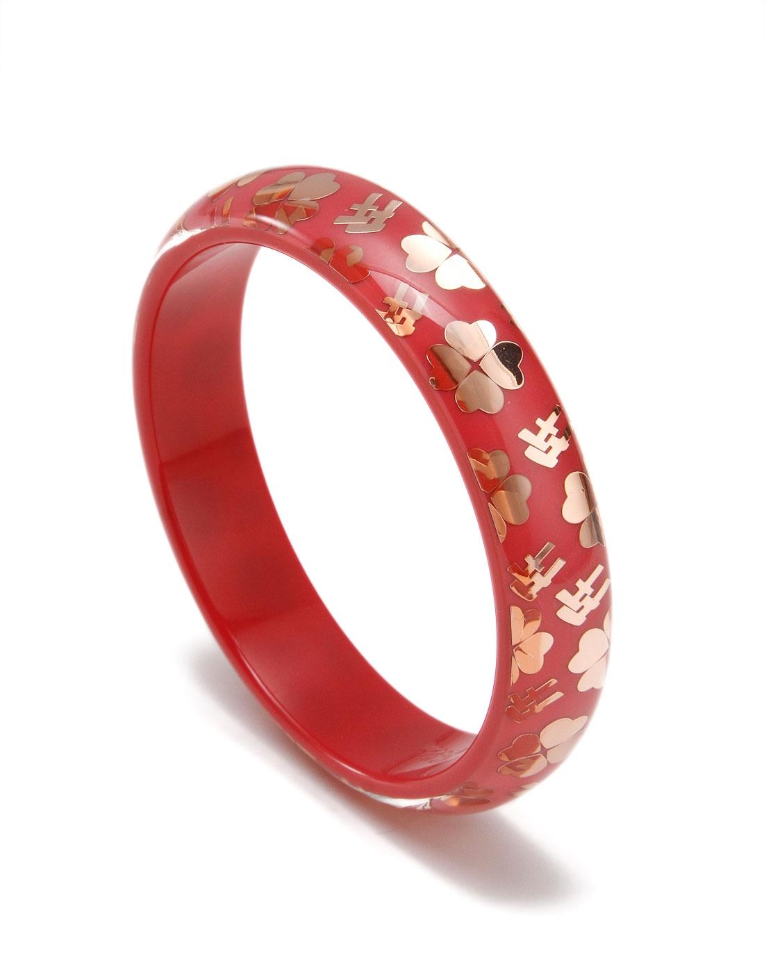 时尚四叶花纹玫瑰金红色手镯