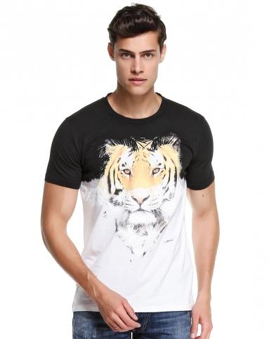 男款虎头图案黑白色短袖t恤