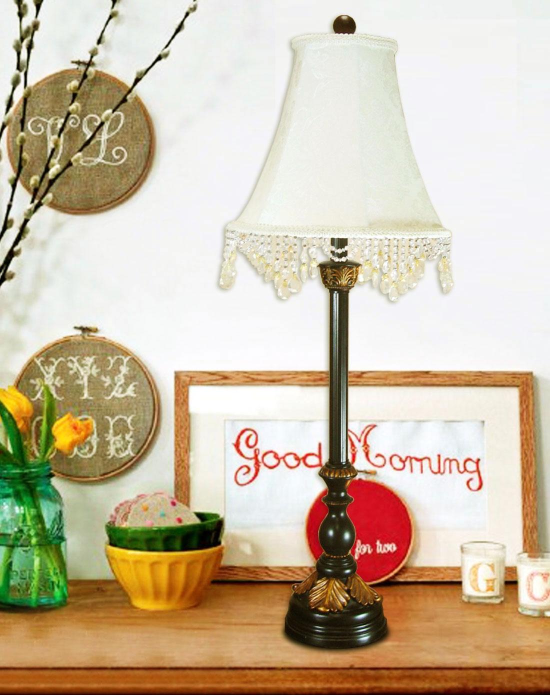 串珠灯罩欧式古典台灯卧室灯