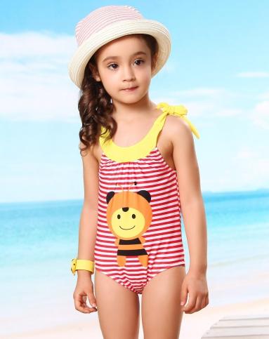 女童粉色小蜜蜂可爱连体泳衣
