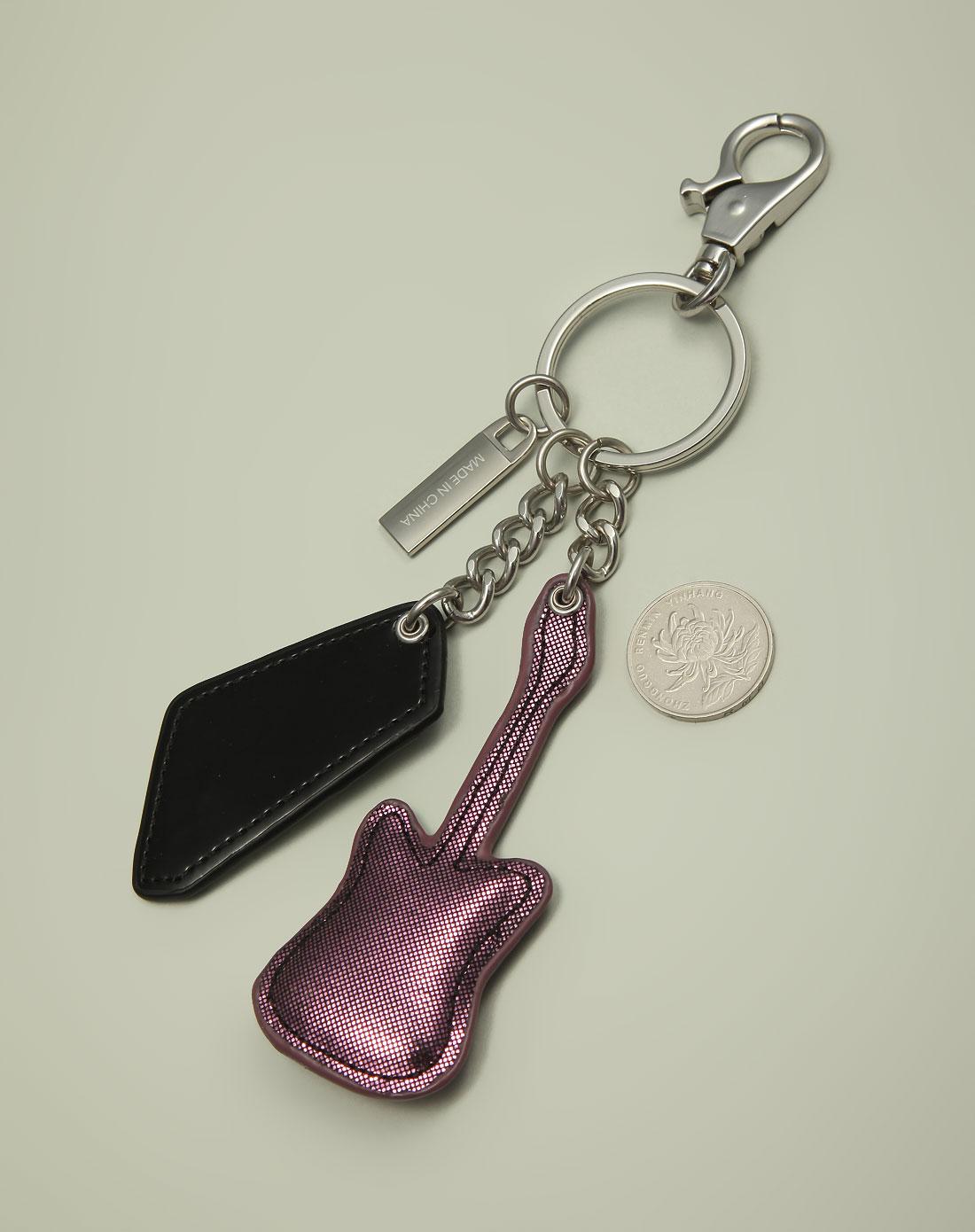 braccialini 中性紫色吉他型可爱钥匙扣