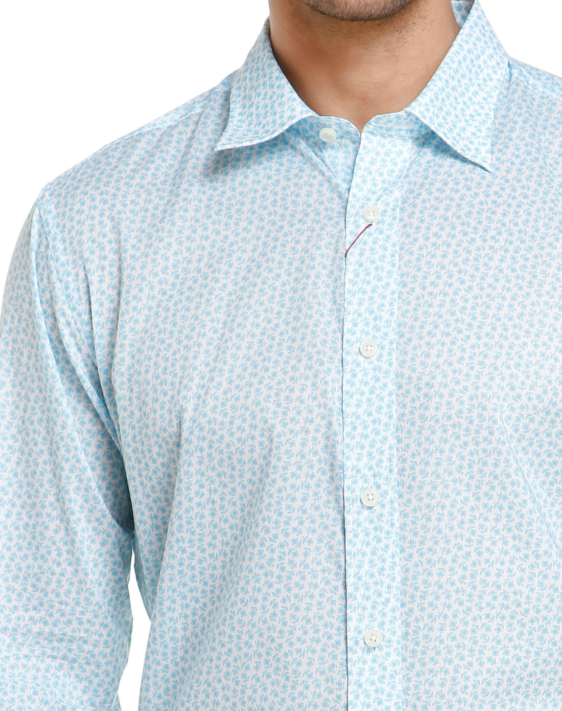 浅蓝色花纹时尚长袖衬衫
