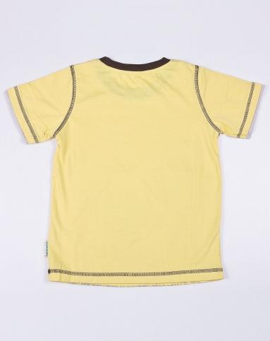 男童恐龙假双层袖口短袖t恤