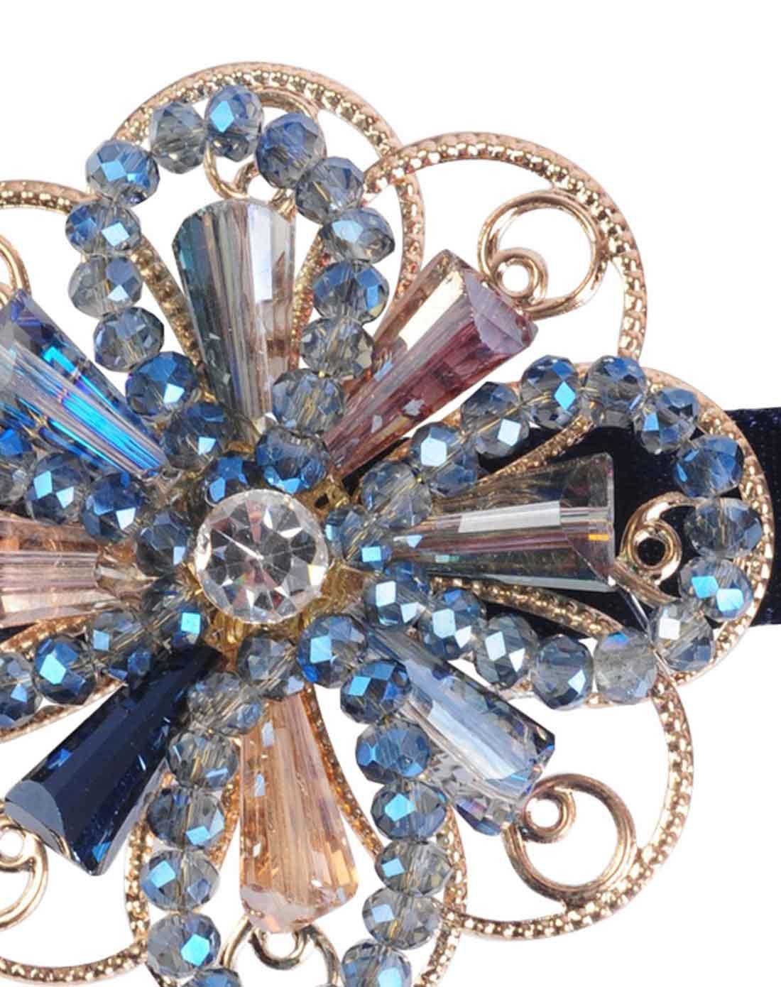 麦朵mado蓝色精美手工串珠编花时尚边夹发夹m099093