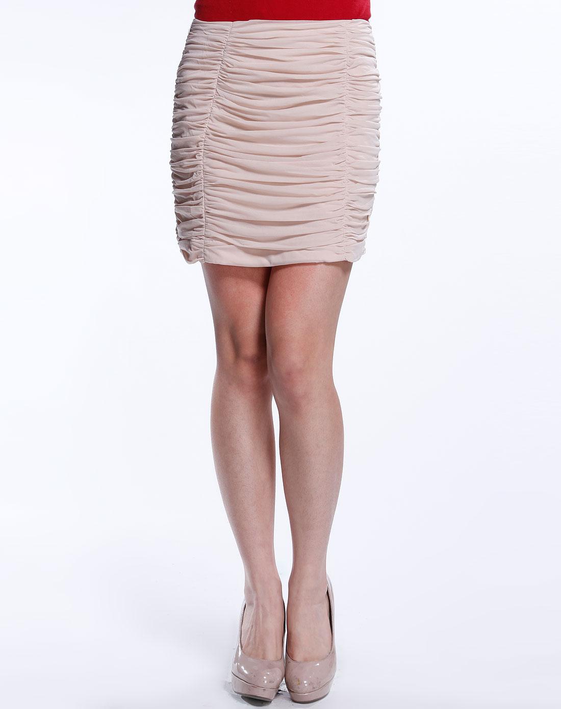 elle卡其色优雅短裙113180105674