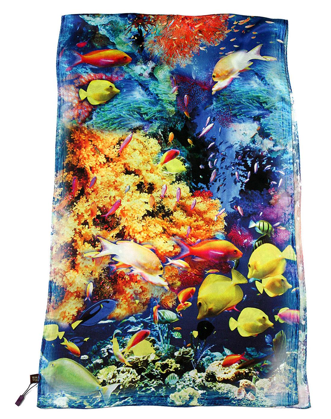 珊瑚海加长手绘珊瑚图案丝巾(长巾)蓝黄