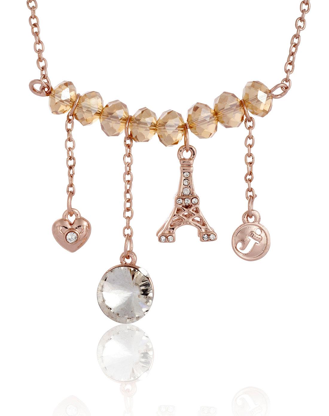 玫瑰金巴黎铁塔水晶项链