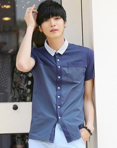 藏蓝色拼接短衬衫