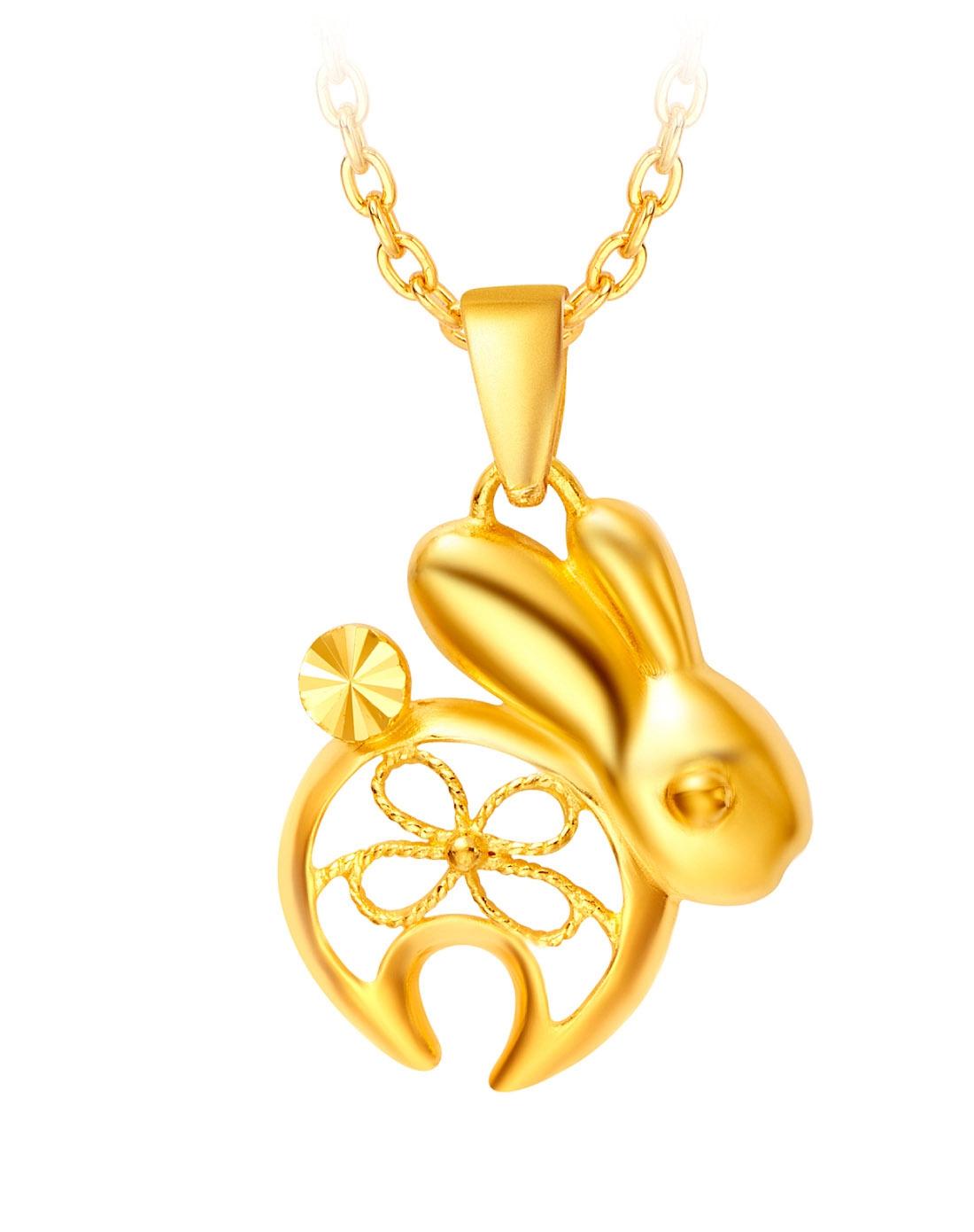 可爱兔子黄金吊坠(计价)