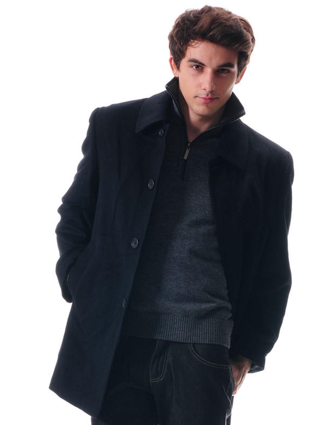 georgebeffry-男款藏青色羊绒羊毛大衣