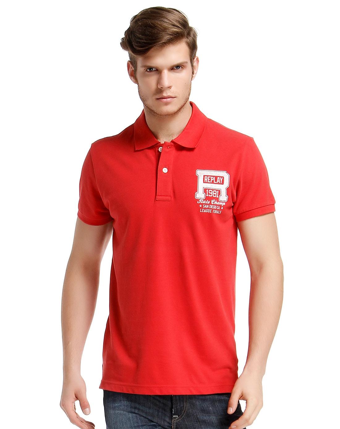 时尚背面印字母红色短袖polo衫