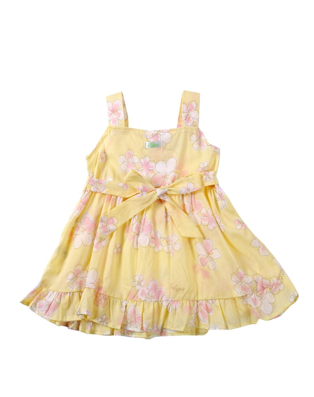 女童嫩黄色公主时尚裙子