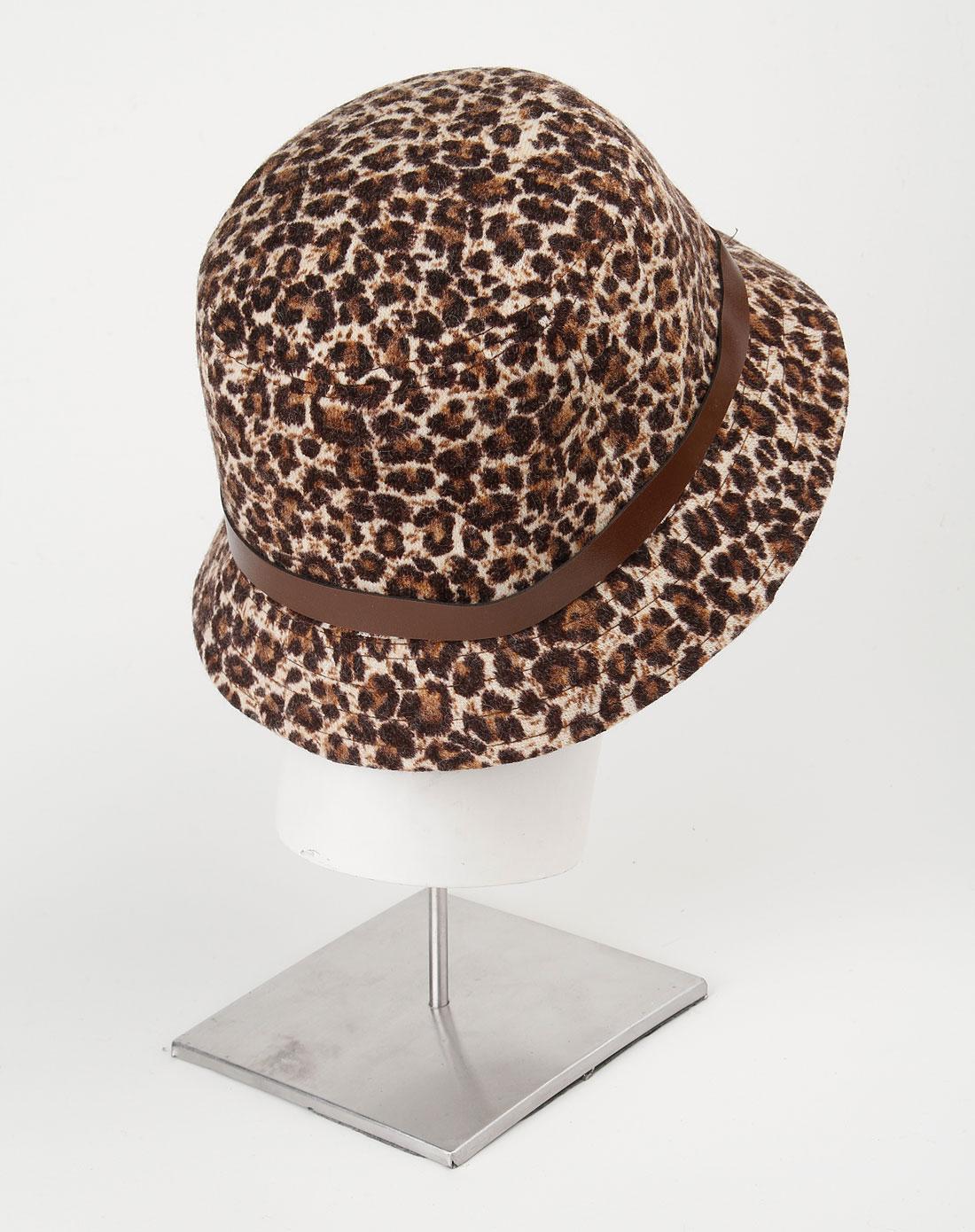 米白/黑色印花时尚帽子