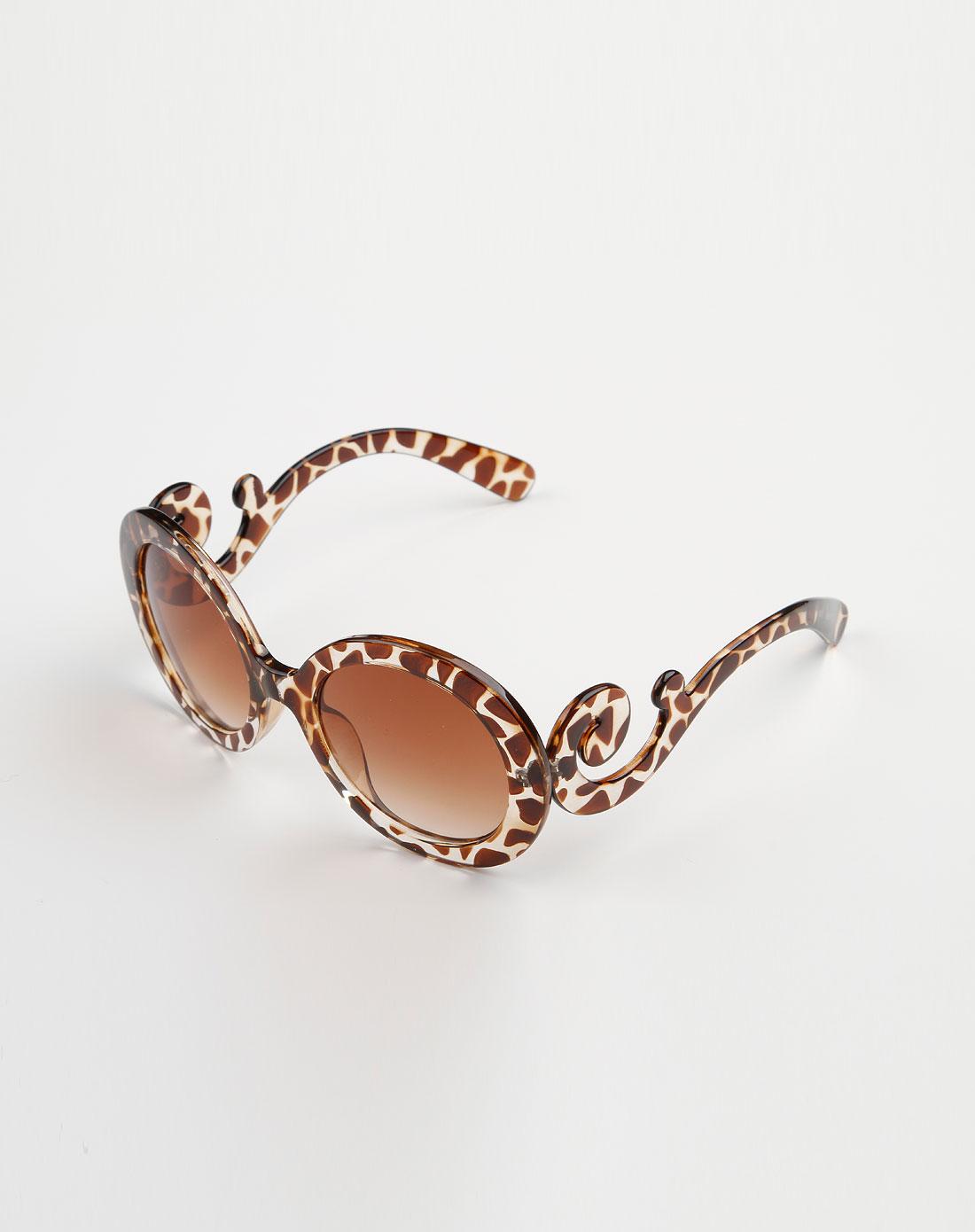 深茶/啡色豹纹圆形可爱眼镜