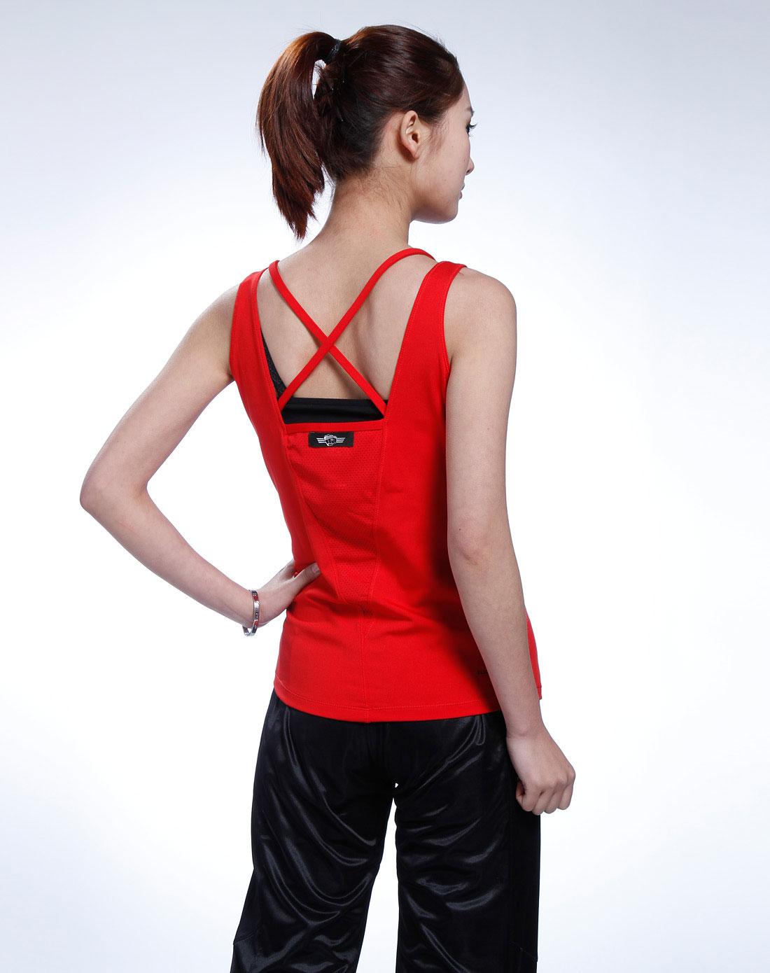 女款大红色健身背心