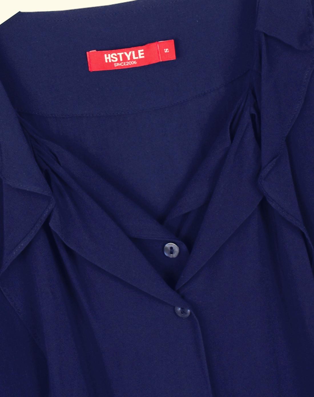 袖跺(h�(�_藏蓝色五分袖衬衫