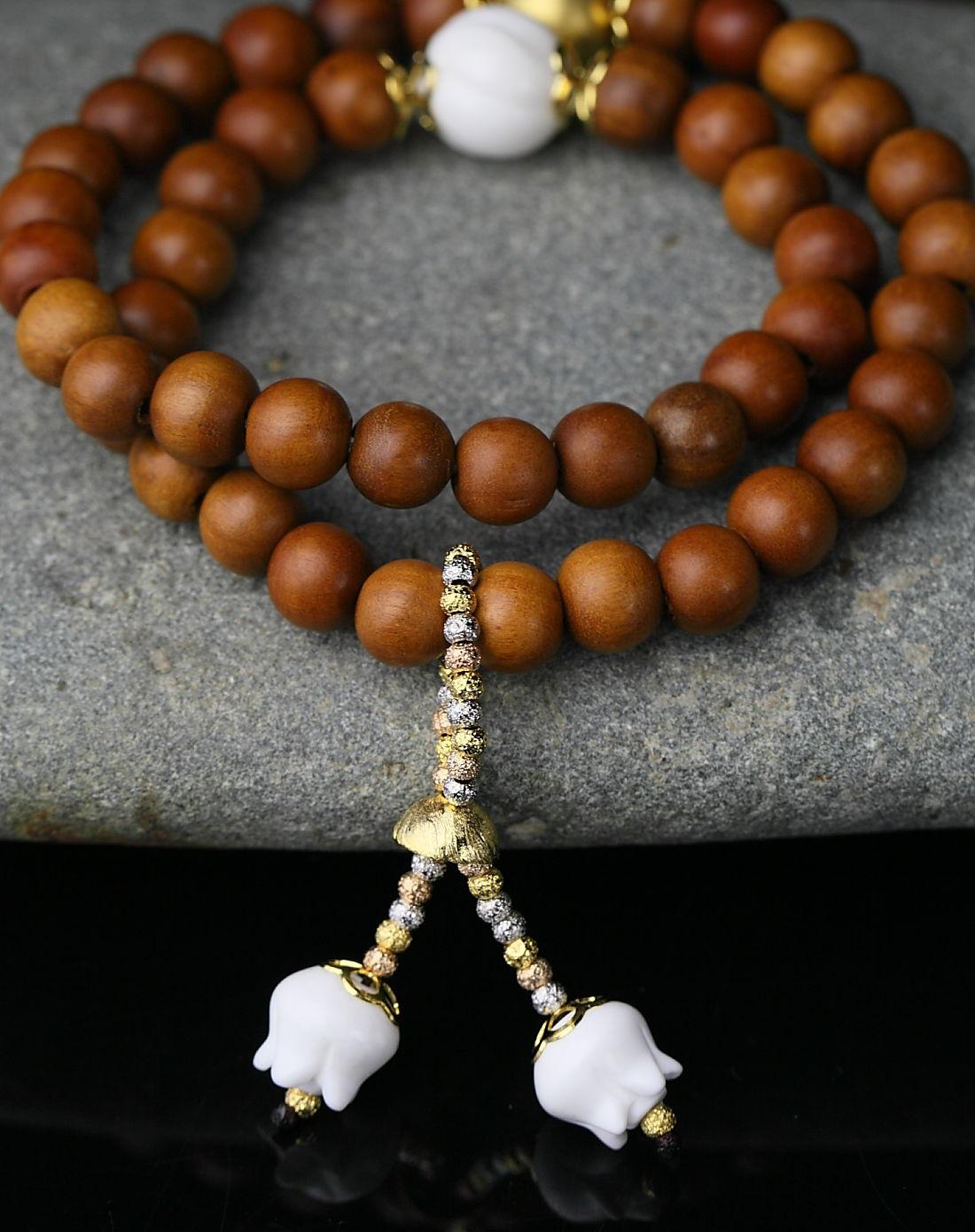 royal gem 原创设计-天然雷击枣木手串-双喜临门