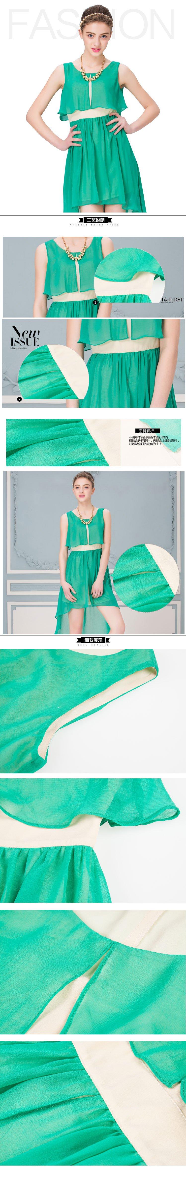 圆领设计,不规则裙摆设计,无袖设计