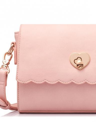 女款粉色心形波浪斜挎包