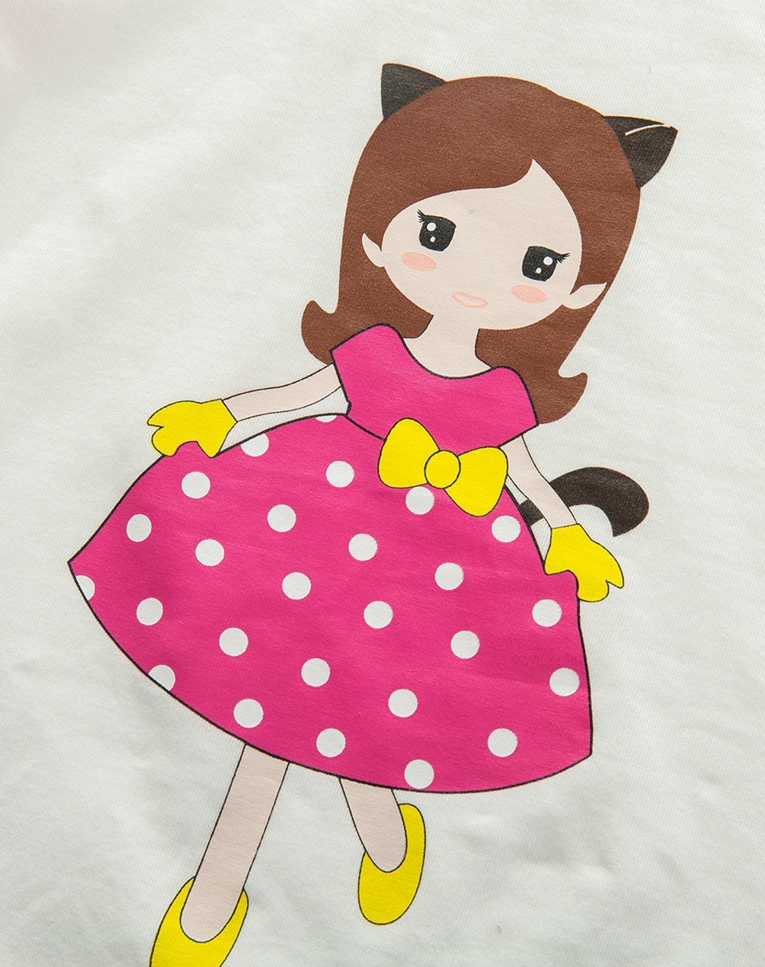 女童玫红色小女孩裙子套装