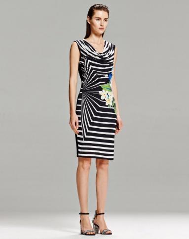 desigual 黑白条纹印花连衣裙