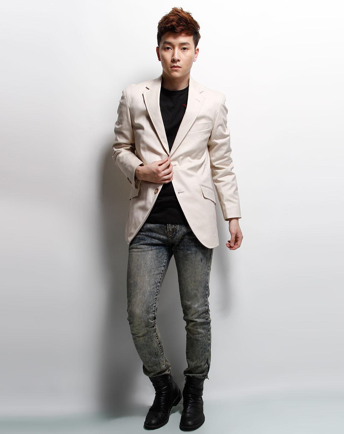 米色简约长袖西装外套