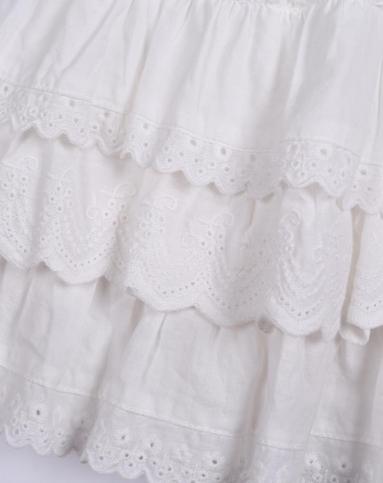 女童白色花边连衣裙wb32sq