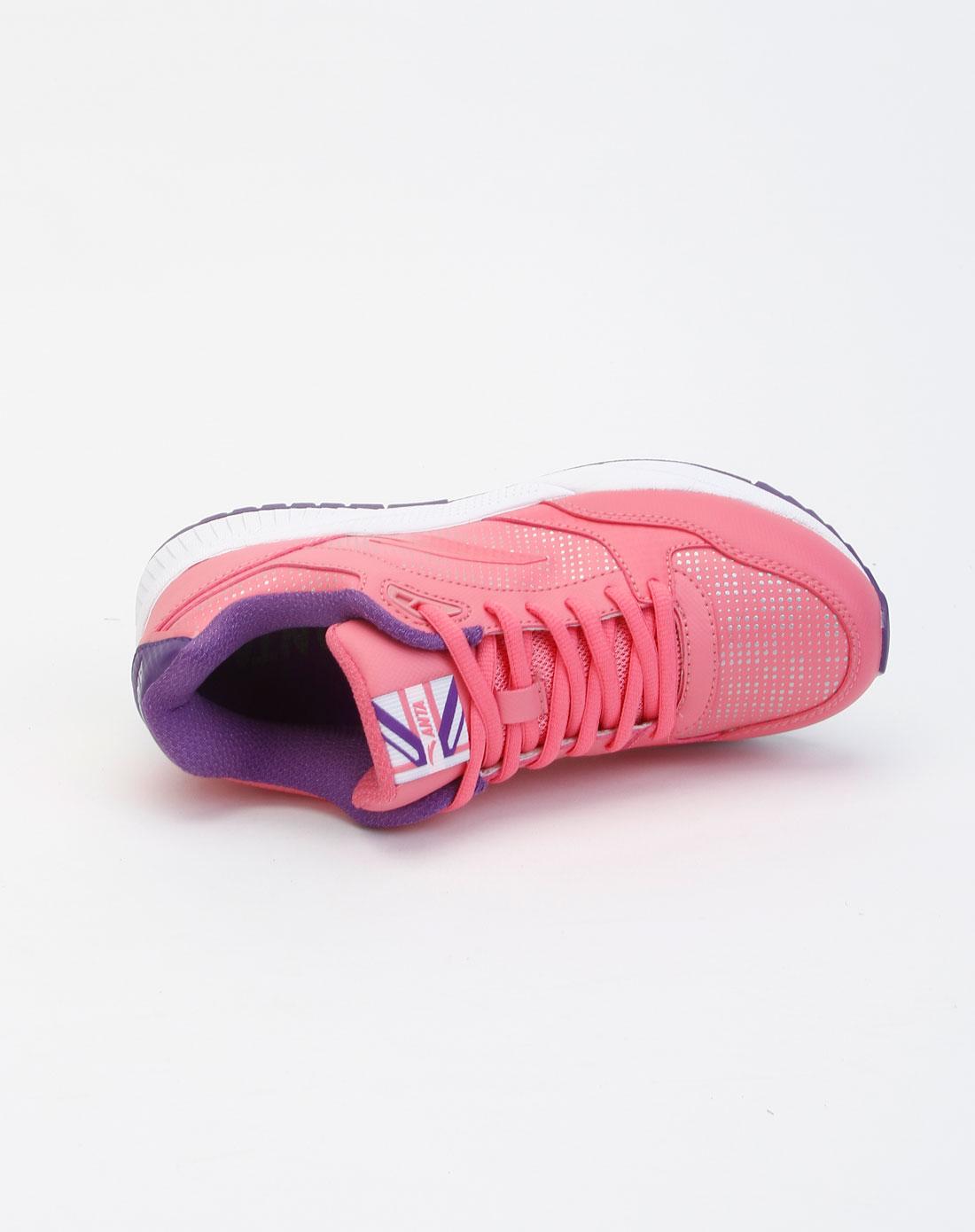 安踏anta男女鞋女款玫红色点纹系带休闲鞋12148808-2