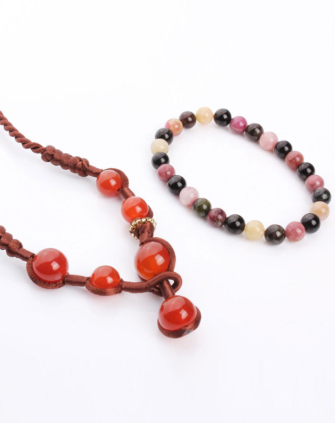 天然水晶礼品套装(天然碧玺手链 天然红玛瑙手工编绳项链)