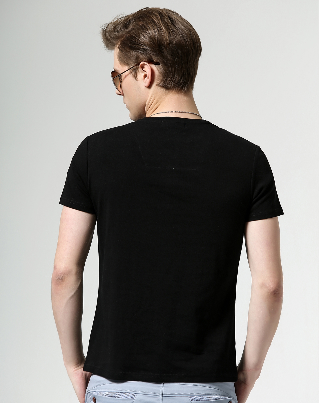 黑色纯色猫头鹰装饰短袖t恤