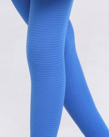 女童蓝色3条装横条冰蚕丝连裤袜