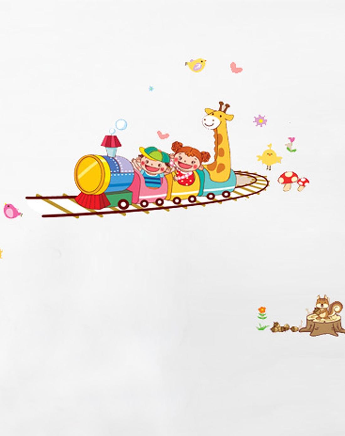 快乐火车可移除卡通墙贴图片