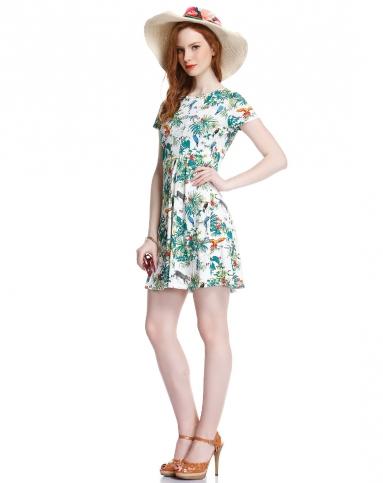 小清新印花鸟图案白底绿色连衣裙