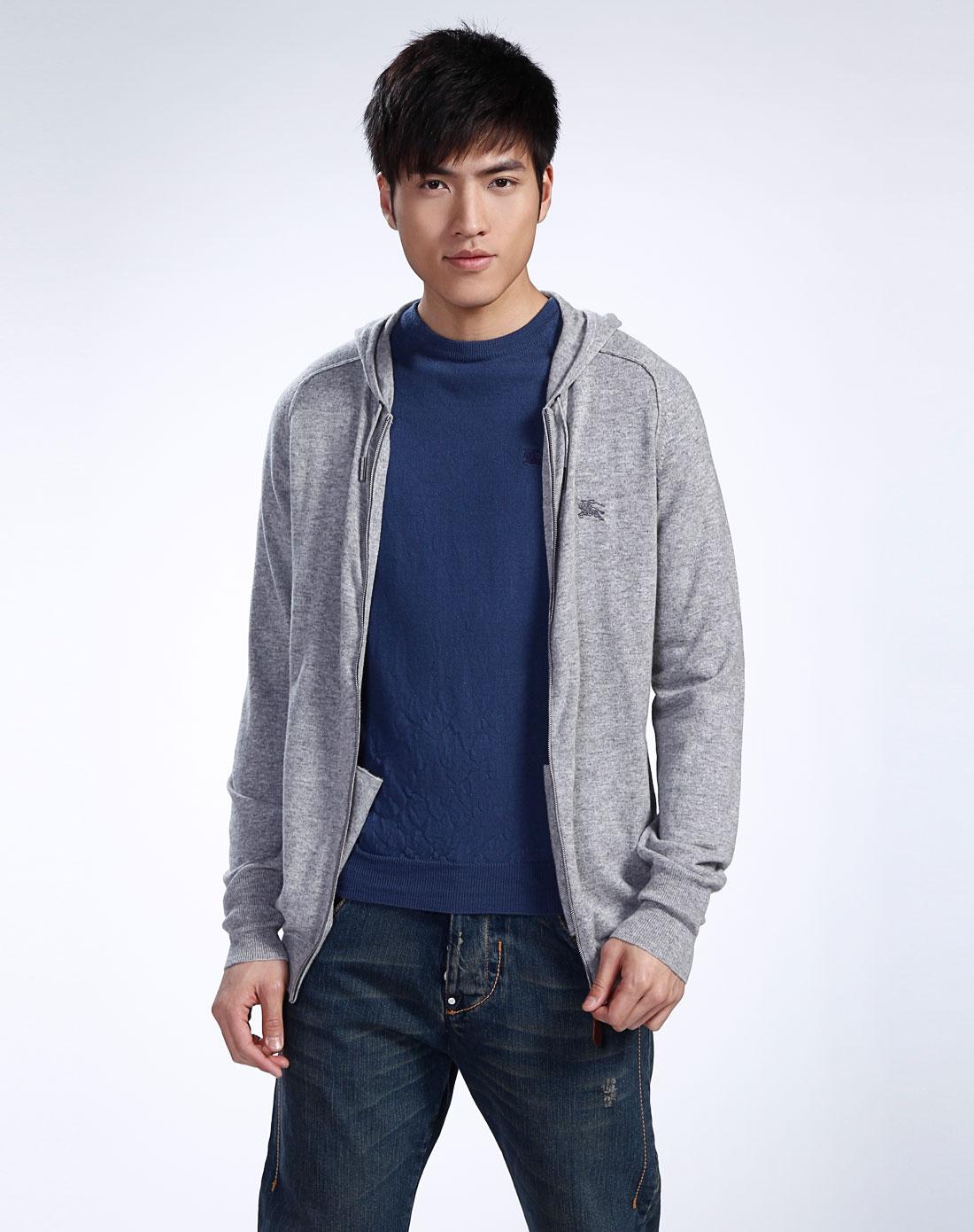 男款花灰色连帽长袖针织外套
