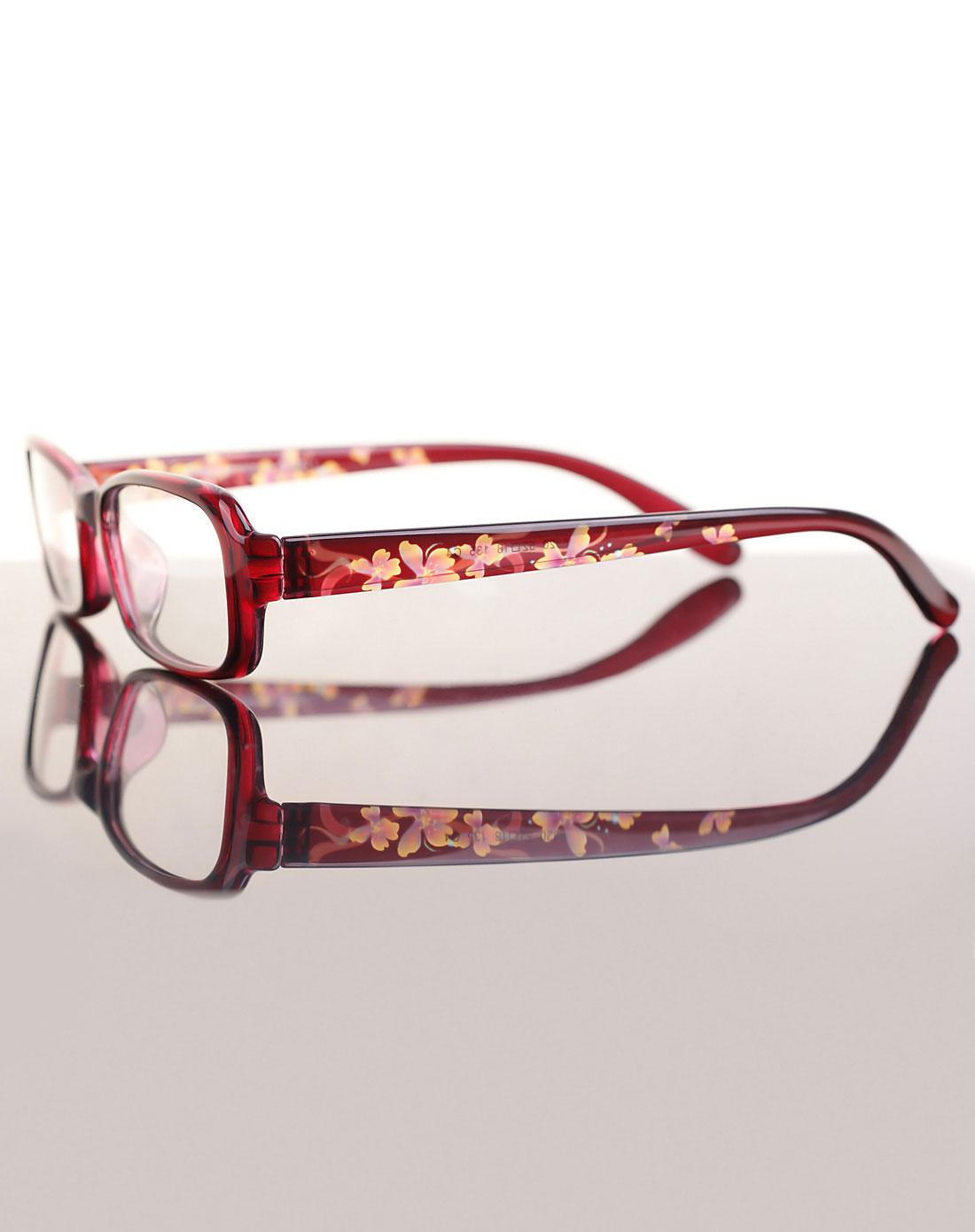 时尚花纹眼镜框/红色