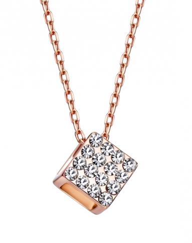 立体正方形全钻镂空时尚吊坠项链