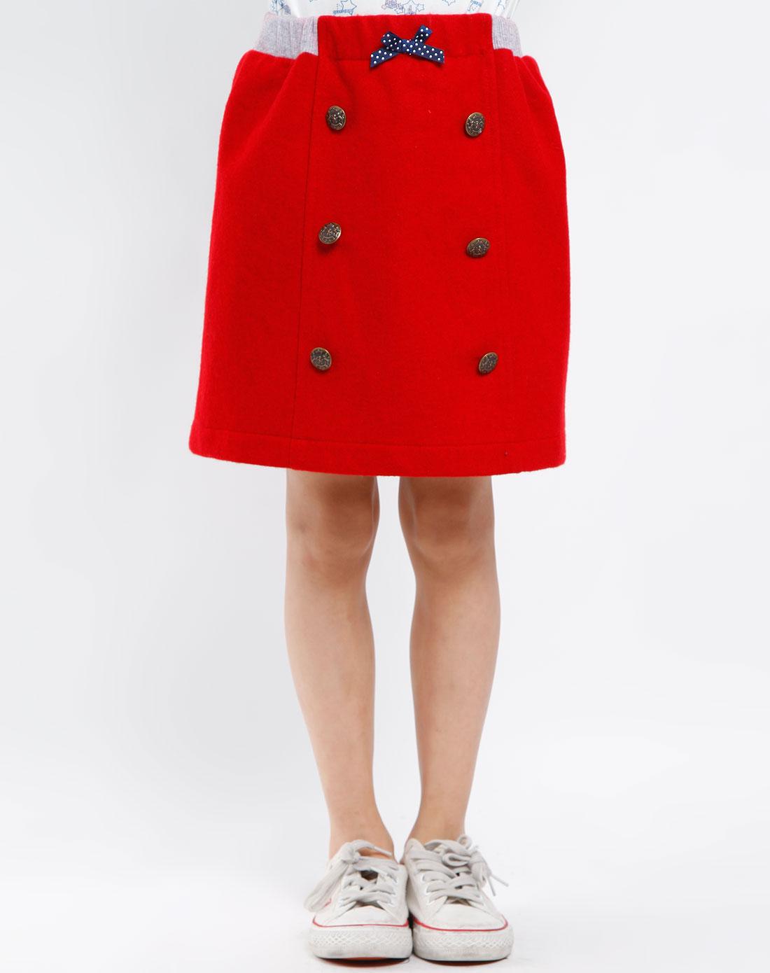 小猪噜噜女童大红色休闲短裙211553dr