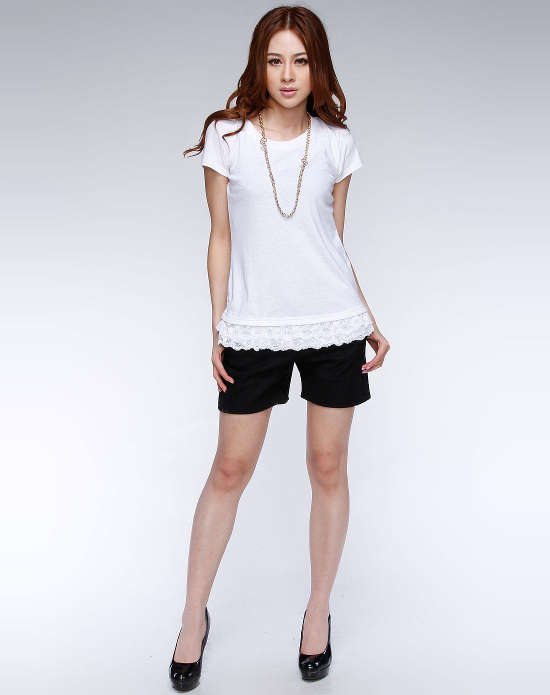 播�_播broadcast-白色蕾丝边短袖t恤