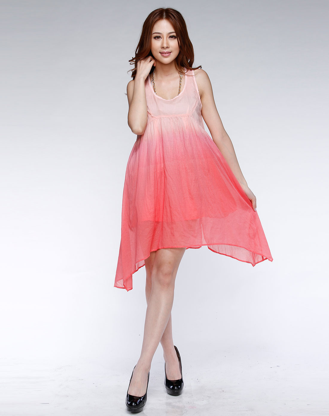 播�_播broadcast-粉红/红色渐变背心连衣裙