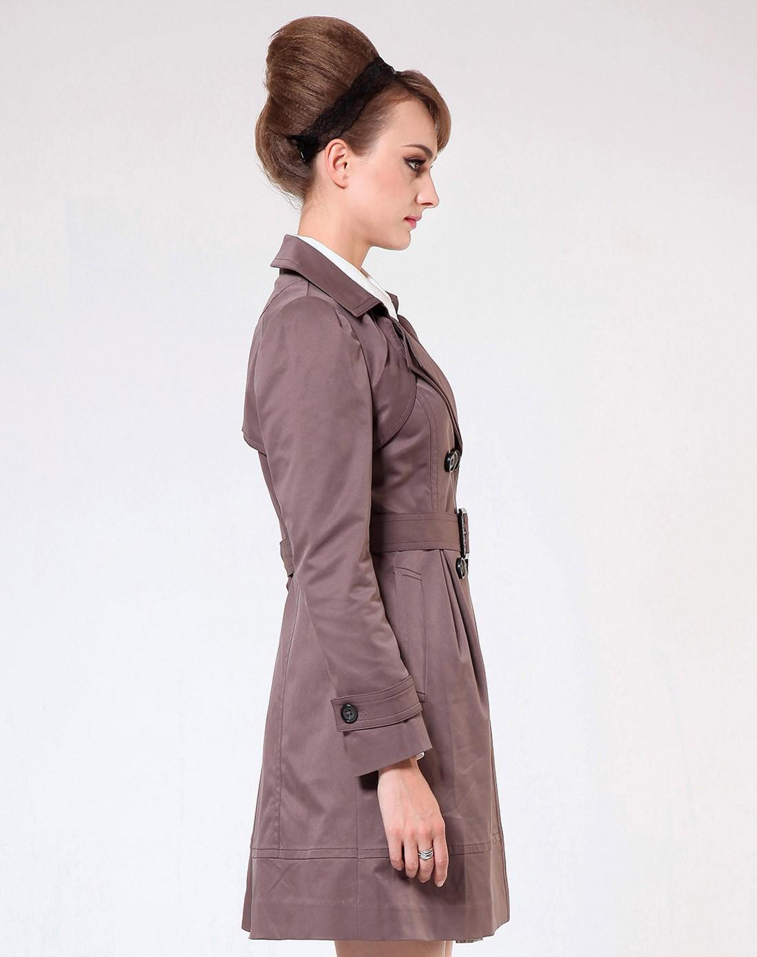 紫灰色中长款风衣上衣