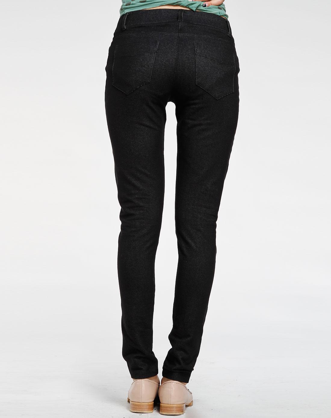 欧莱诺olomo黑色休闲紧身长裤1116301090