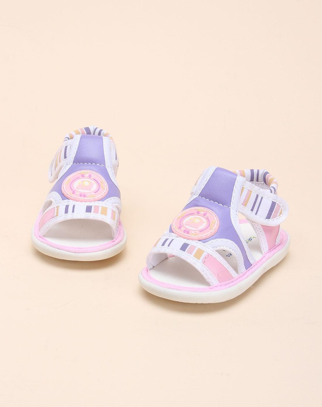 宝宝鞋混合专场-baby bubbles 女童白/紫色太空革/布凉鞋
