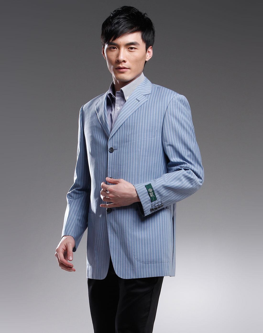 benato蓝色翻领粗条纹时尚长袖西服b174b016000