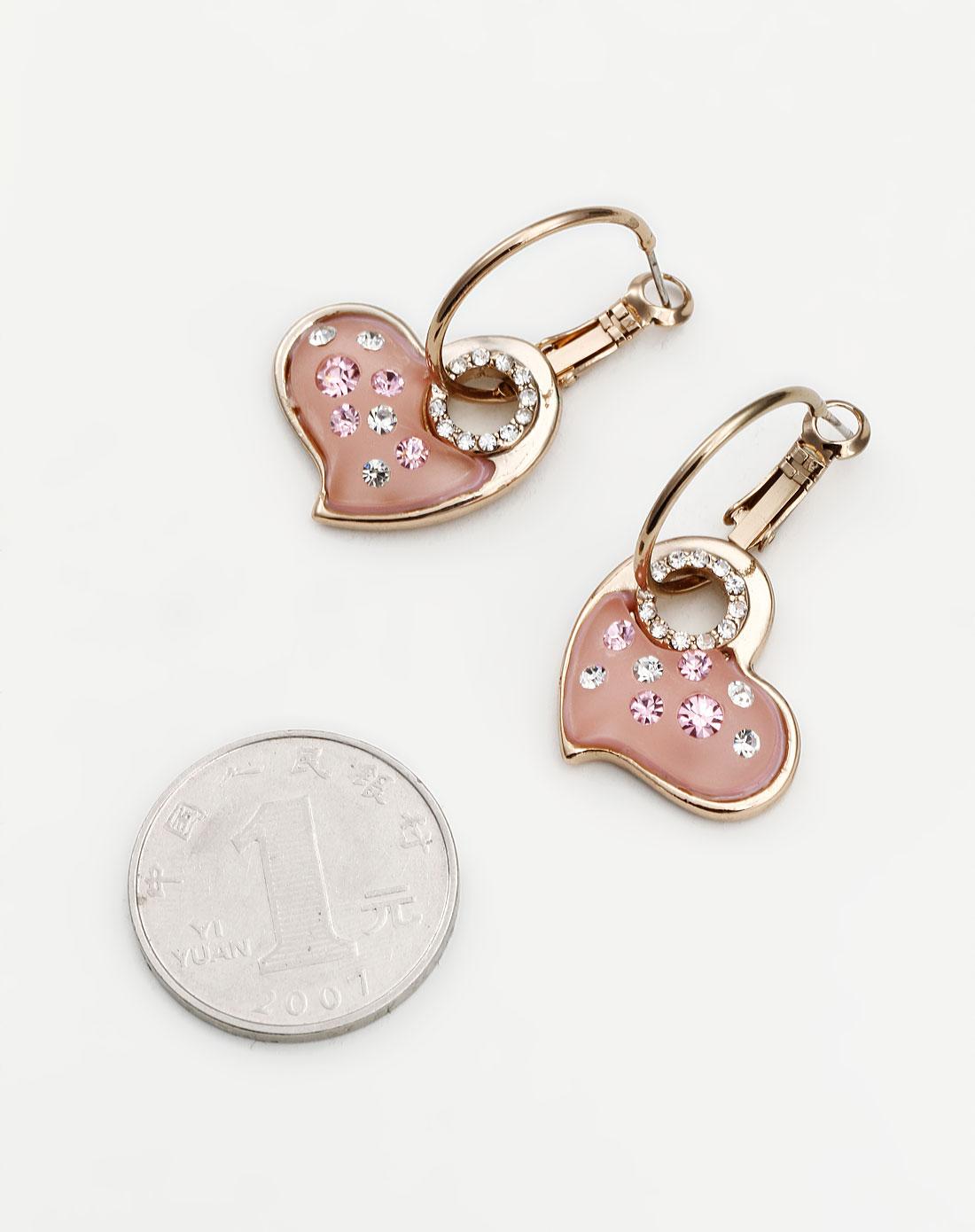 威妮华viennois饰品专场-粉/金色可爱心形耳环