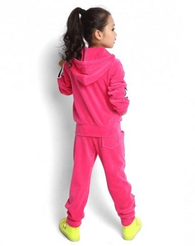女童梅红色儿童运动服