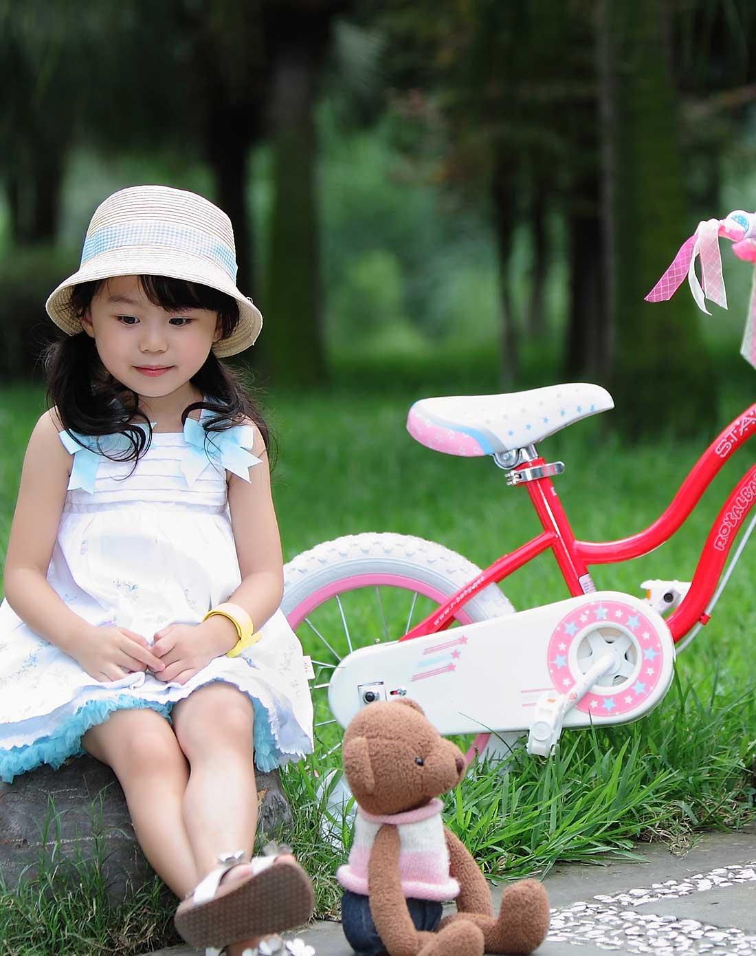 优贝royalbaby儿童自行车专场14寸星女孩车-粉色rg14g