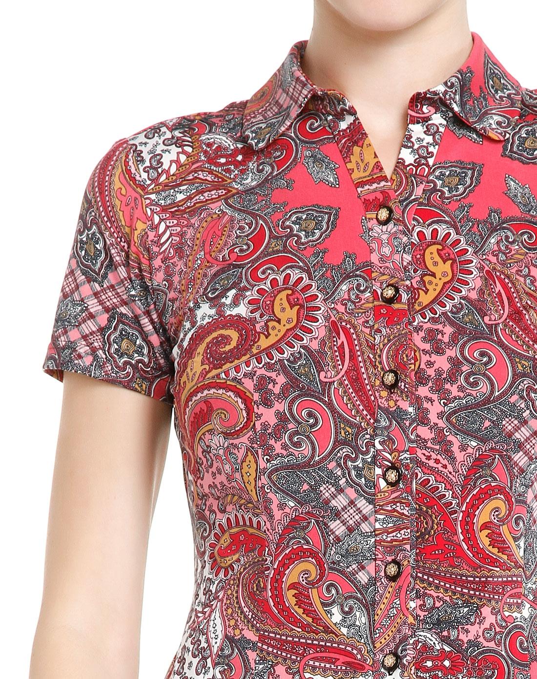 佩斯利花纹桃红色短袖针织衬衫