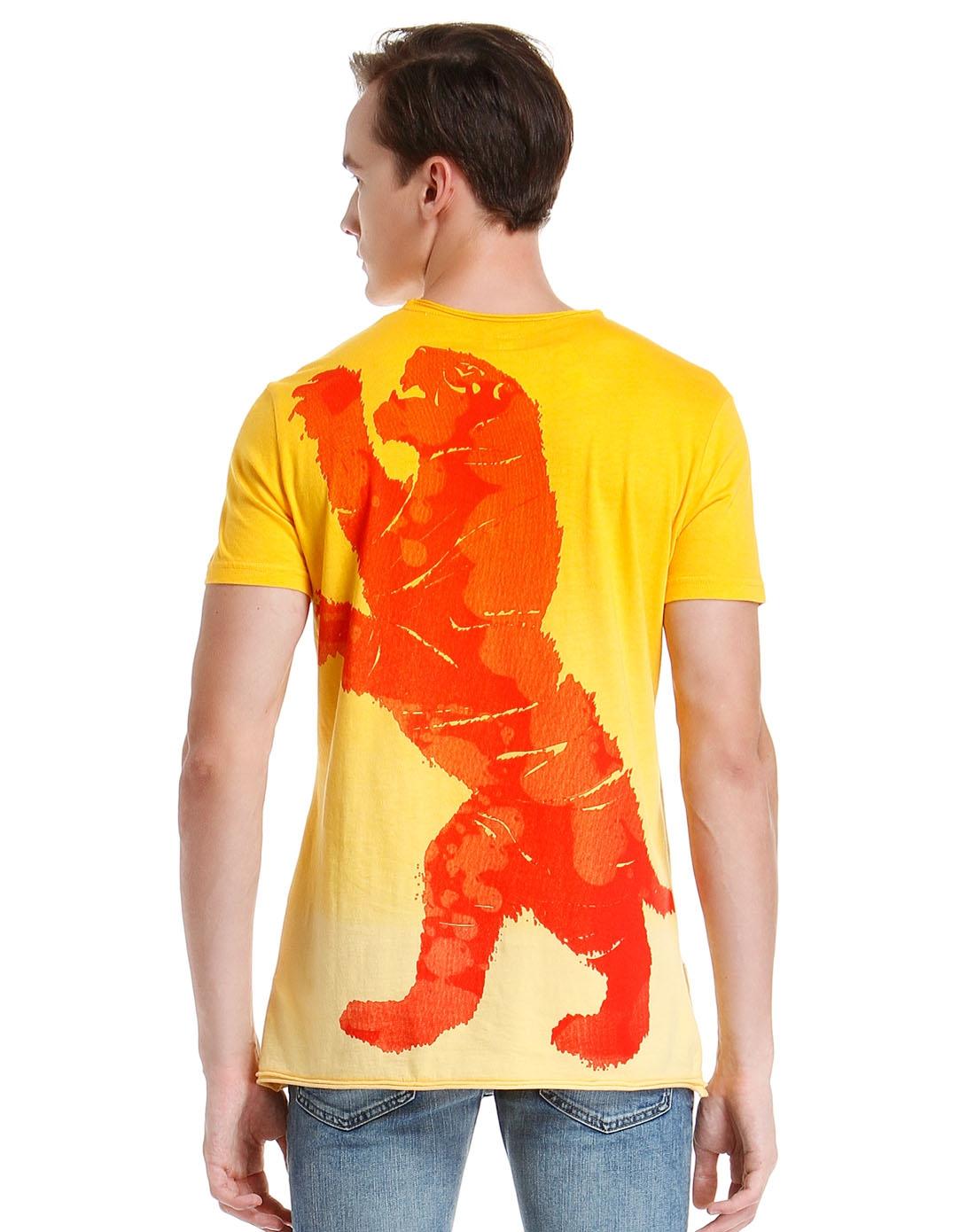 男款后背手绘图案亮黄色短袖t恤